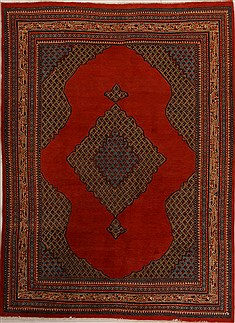 "Mahal Red Hand Knotted 7'10"" X 10'9""  Area Rug 251-14234"