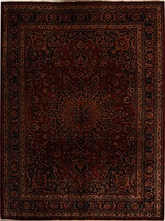 Persian Mashad Red Rectangle 10x13 ft Wool Carpet 14251