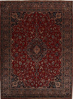 Persian Mashad Red Rectangle 10x13 ft Wool Carpet 14285