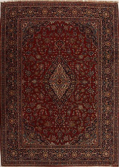 Persian Kashan Red Rectangle 10x14 ft Wool Carpet 14287