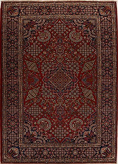 Persian Najaf-abad Red Rectangle 9x12 ft Wool Carpet 14288