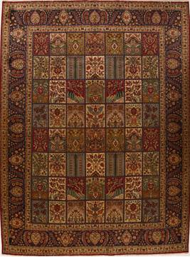 Persian Tabriz Multicolor Rectangle 10x13 ft Wool Carpet 14290