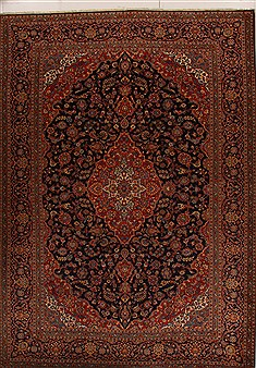 Persian Mashad Blue Rectangle 10x14 ft Wool Carpet 14295