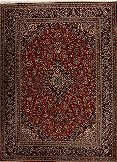 Persian Kashan Red Rectangle 10x14 ft Wool Carpet 14296