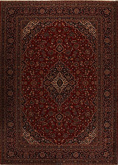 Persian Kashan Red Rectangle 10x14 ft Wool Carpet 14306
