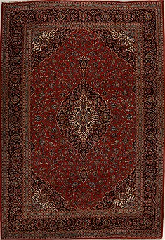 Persian Kashan Red Rectangle 10x14 ft Wool Carpet 14307
