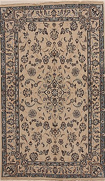 Persian Tabas Beige Rectangle 5x7 ft Wool Carpet 14322