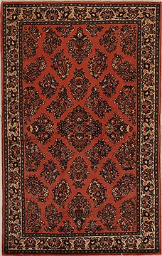 Persian sarouk Red Rectangle 5x7 ft Wool Carpet 14352