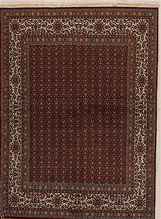 Persian Mood Red Rectangle 5x7 ft Wool Carpet 14358