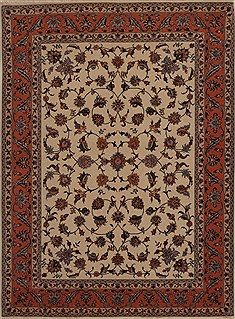 Persian Tabriz Beige Rectangle 5x7 ft Wool Carpet 14367