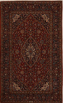 Persian Kashan Red Rectangle 5x8 ft Wool Carpet 14369