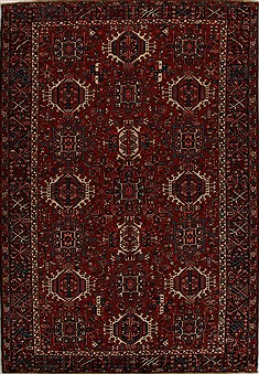 Persian Karajeh Red Rectangle 8x11 ft Wool Carpet 14381