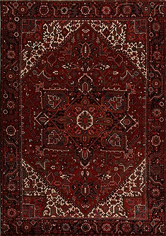 Persian Heriz Red Rectangle 8x11 ft Wool Carpet 14410