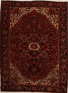 Persian Heriz Red Rectangle 8x11 ft Wool Carpet 14420