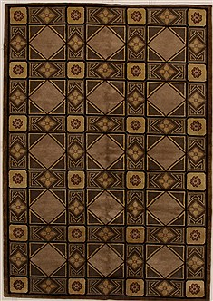 Indian Modern Brown Rectangle 6x9 ft Wool Carpet 14439