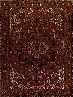 Persian Heriz Red Rectangle 10x13 ft Wool Carpet 14452