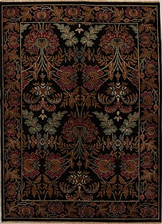 Indian Agra Black Rectangle 5x7 ft Wool Carpet 14514