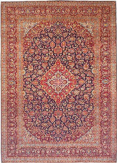 Persian Kashan Red Rectangle 10x13 ft Wool Carpet 14702
