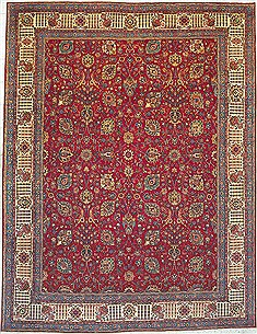 "Tabriz Red Hand Knotted 11'2"" X 14'5""  Area Rug 100-14705"