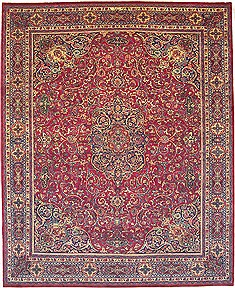Persian Mashad Purple Rectangle 10x12 ft Wool Carpet 14707