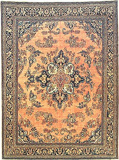 Persian Hamedan Orange Rectangle 10x14 ft Wool Carpet 14710