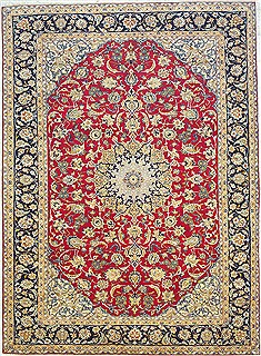 Persian Isfahan Red Rectangle 10x13 ft Wool Carpet 14713