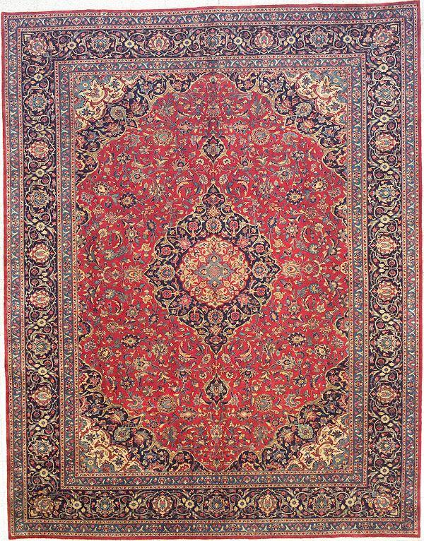 Blue Rectangle 10x14 Ft Wool Carpet