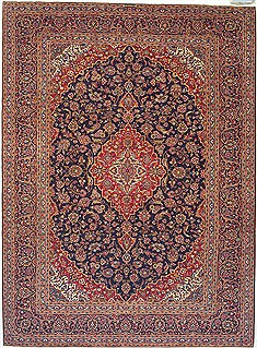 Persian Kashan Red Rectangle 10x14 ft Wool Carpet 14728