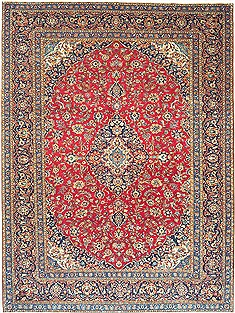 Persian Kashan Red Rectangle 10x13 ft Wool Carpet 14729
