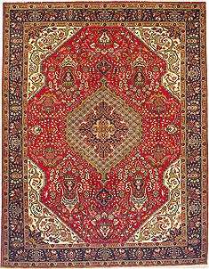 Persian Tabriz Red Rectangle 10x13 ft Wool Carpet 14738