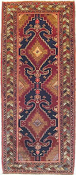 "Ardebil Red Runner Hand Knotted 4'10"" X 11'1""  Area Rug 100-14756"