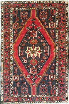 "Shahsavan Green Hand Knotted 4'5"" X 6'7""  Area Rug 100-14759"