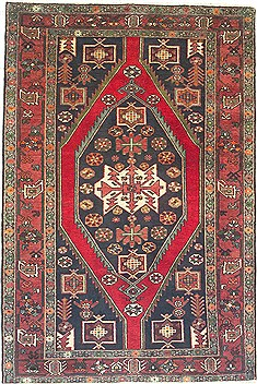 "Shahsavan Green Hand Knotted 4'5"" X 6'7""  Area Rug 100-14760"