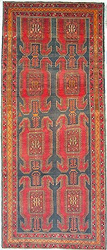 "Ardebil Red Runner Hand Knotted 4'4"" X 10'1""  Area Rug 100-14763"