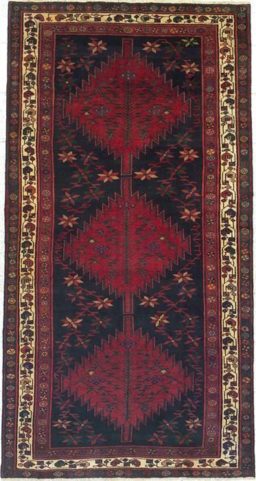 Persian Koliai Black Runner 6x9 Ft Wool Carpet 14765
