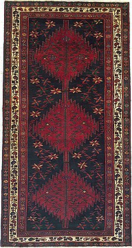 "Koliai Black Runner Hand Knotted 4'11"" X 9'7""  Area Rug 100-14765"