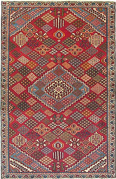 Persian Joshaghan Red Rectangle 4x6 ft Wool Carpet 14766