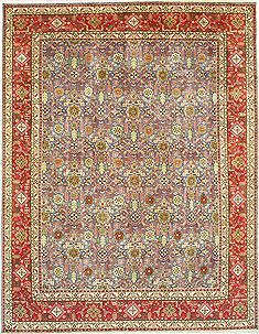 Persian Tabriz Grey Rectangle 10x13 ft Wool Carpet 14796