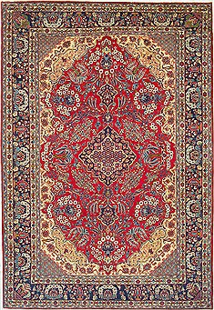"Isfahan Red Hand Knotted 9'8"" X 13'11""  Area Rug 100-14798"