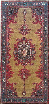 "Koliai Red Runner Hand Knotted 5'2"" X 10'11""  Area Rug 100-14814"