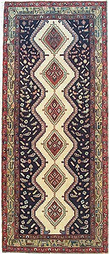 "Hamedan Blue Runner Hand Knotted 3'6"" X 8'3""  Area Rug 100-14819"