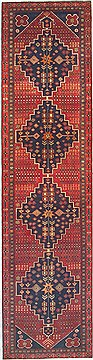 "Ardebil Red Runner Hand Knotted 3'3"" X 12'8""  Area Rug 100-14827"