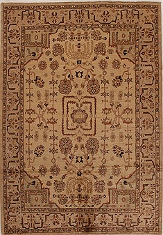 Pakistani Chobi Beige Rectangle 6x9 ft Wool Carpet 14918