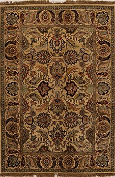 Indian Jaipur Beige Rectangle 6x9 ft Wool Carpet 14927
