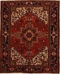 "Persian Heriz Wool Red Rectangle Area Rug  (5'2"" x 6'8"") - 252-14944"