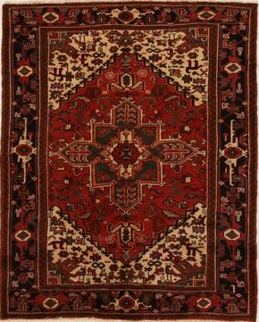 Persian Heriz Red Rectangle 5x7 ft Wool Carpet 14944