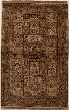 Indian Jaipur Beige Rectangle 4x6 ft Wool Carpet 14945