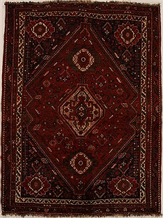 Persian Shiraz Red Rectangle 5x7 ft Wool Carpet 14961