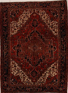Persian Heriz Red Rectangle 7x10 ft Wool Carpet 14964