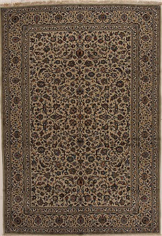 "Kashan Beige Hand Knotted 8'0"" X 10'8""  Area Rug 100-14969"